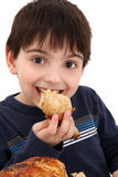 Boy Eating Chicken. Adorable six year old caucasian boy eating rotisserie chicken royalty free stock photo