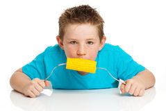 Boy eating corn on cob. Boy eating corn on the cob and sticking his tongue out. Studio on white background Royalty Free Stock Images