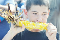 Boy Eating Corn Royalty Free Stock Images