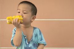 Boy eating corn Royalty Free Stock Photos