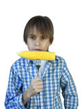 Boy eating corn Royalty Free Stock Photo