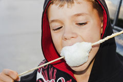 Boy eating cotton candy. Stock Images