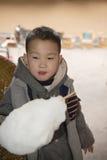 Boy eating cotton sugar Stock Photography