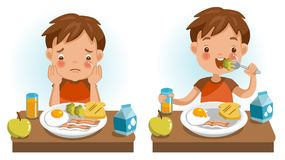 Children eating. Boy eating. Emotions and gestures. Conversely, Unwillingness, appetizing, Unhappy and happy. The concept of Health and growing children. Cartoon stock illustration