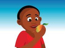 Boy eating fruit. Cartoon illustration of a boy eating fruit Royalty Free Stock Photo