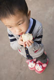 Boy eating fruit Royalty Free Stock Photos
