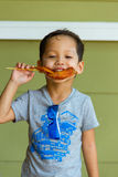 Boy eating grilled chicken Royalty Free Stock Image