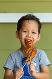 Boy eating grilled chicken Royalty Free Stock Photography
