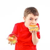 Boy eating a hamburger. Royalty Free Stock Image