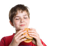 The boy eating a hamburger. Royalty Free Stock Images