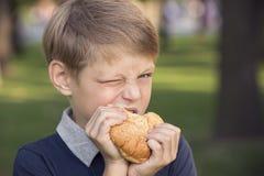 Boy eating a hamburger Stock Images