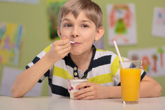 Boy eating healthy lunch Royalty Free Stock Images