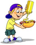 Boy eating hotdog. Vector illustration of a Cartoon Boy eating hotdog with mustard Royalty Free Stock Photography