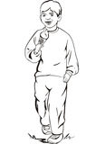Boy eating an ice cream. Teenage boy eating an ice cream. Vinyl-ready EPS Illustration, black and white sketch Royalty Free Stock Photography
