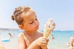 Boy eating ice cream Stock Photo