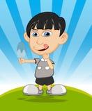 The boy eating ice cream cartoon vector illustration Stock Photos