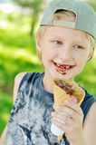 Boy eating  ice-cream Stock Photography