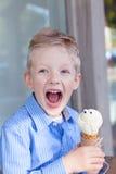 Boy eating ice-cream Royalty Free Stock Photo