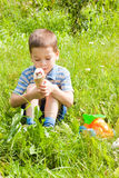 Boy eating ice cream on the nature Royalty Free Stock Photos