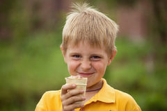 The boy eating ice cream Royalty Free Stock Images