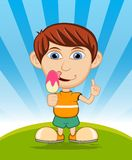 The boy eating ice cream vector illustration Royalty Free Stock Images