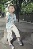 Boy eating icecream Royalty Free Stock Images