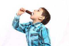 Boy eating icecream Stock Photo