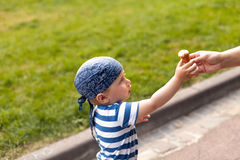 Boy eating icecream Stock Photo