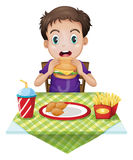 A boy eating. Illustration of a boy eating on a white background Royalty Free Stock Photo
