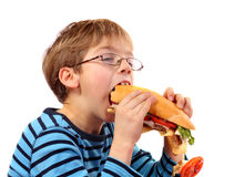 Boy eating large sandwich Royalty Free Stock Photography