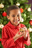 Boy Eating Mince Pie In Front Of Christmas Tree Stock Image