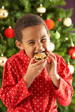 Boy Eating Mince Pie In Front Of Christmas Tree Royalty Free Stock Photography