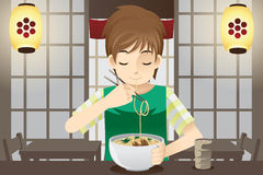 Boy eating noodle. A vector illustration of a boy eating a bowl of noodles Royalty Free Stock Photo