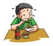 Boy eating Noodle Stock Images