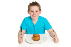 Boy eating pie. Royalty Free Stock Photos