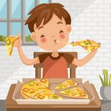Boy eating pizza. Sitting at the table eating luncheon. Delicious food in Pizza box. at home in the dining room. cute little boy cartoon In red shirt royalty free illustration
