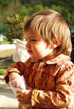 Boy eating popcorn Royalty Free Stock Image