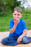 Boy eating red apple. And sitting on beach mat Stock Photography