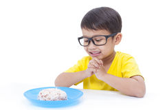 Boy eating rice Royalty Free Stock Images