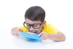 Boy eating rice. Royalty Free Stock Images
