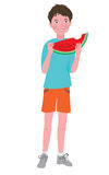 Boy eating a ripe melon Stock Image