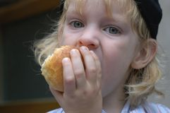 Boy eating a roll Stock Images