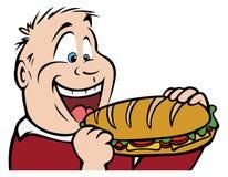 Boy eating sandwich. Cartoon illustration of a boy eating sandwich Royalty Free Stock Image