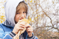 Boy eating sandwich Stock Image