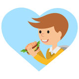 Boy eating sandwich. Vector illustration on theme fast food. Stock Images