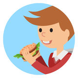 Boy eating sandwich. Vector illustration on theme fast food. Royalty Free Stock Images