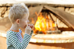 Boy eating smores Royalty Free Stock Images