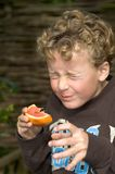 Boy eating Sour Grapefruit. Boy (7)eating a grapefruit and pulling a sour funny face Royalty Free Stock Photo
