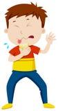 Boy eating sour lemon Stock Images