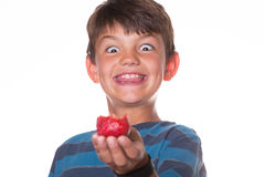 Boy eating strawberry with a goofy face. Younger boy eating a strawberry and looking at it with a goofy smile royalty free stock photography